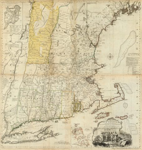 1776 State Map of New England containing the Massachusetts, New Hampshire, Conecticut and Rhode Island