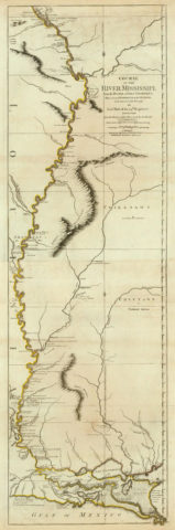 1776 Map of the Course of the Mississipi River from the Balise to Fort Chartres