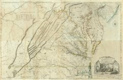 1776 Map of the most Inhabited part of Virginia containing the whole province of Maryland with Part of Pennsylvania, New Jersey and North Carolina