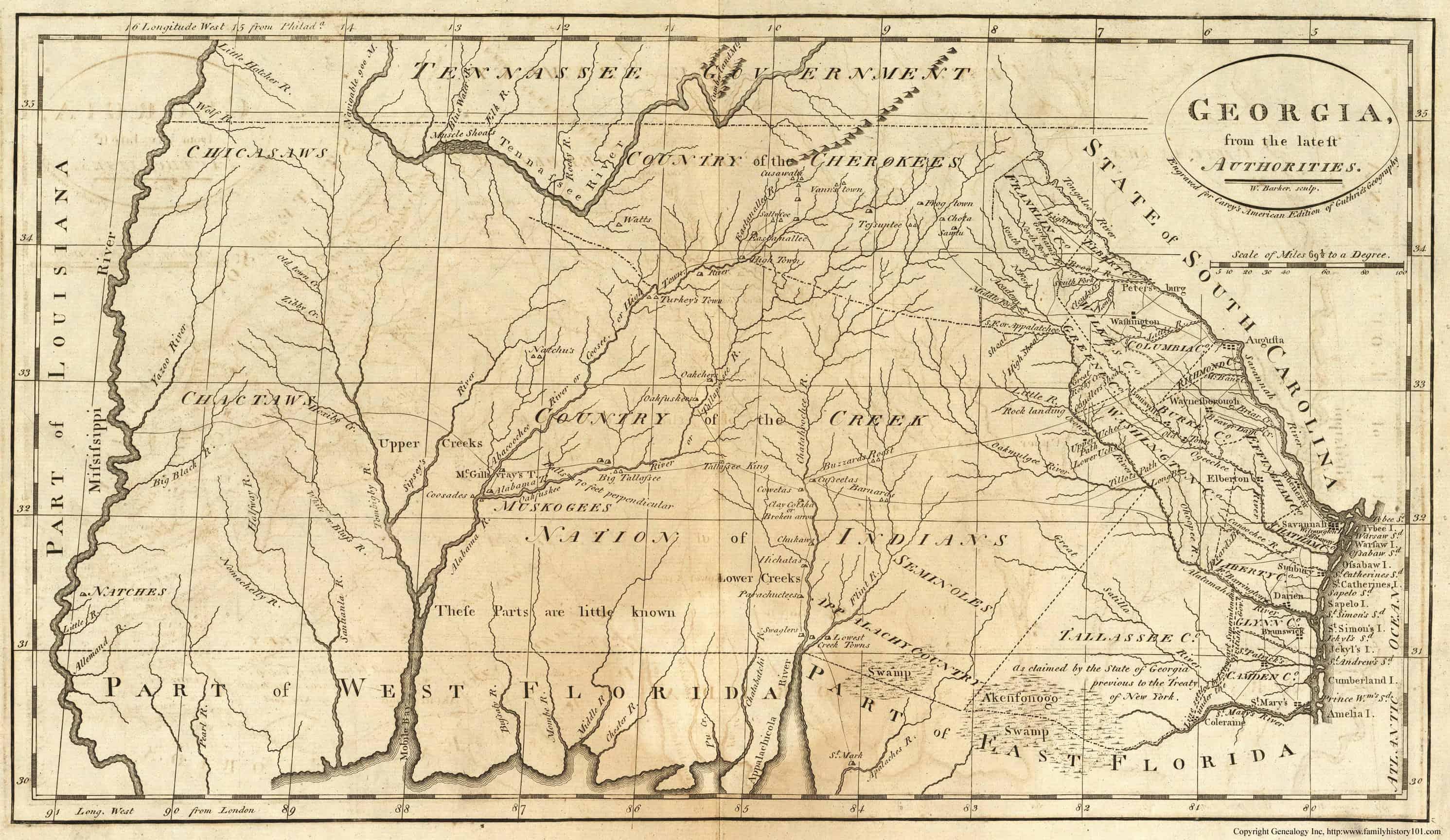 1855 GA MAP APPLING ATKINSON BACON BAKER BALDWIN BANKS BARROW BARTOW COUNTY huge