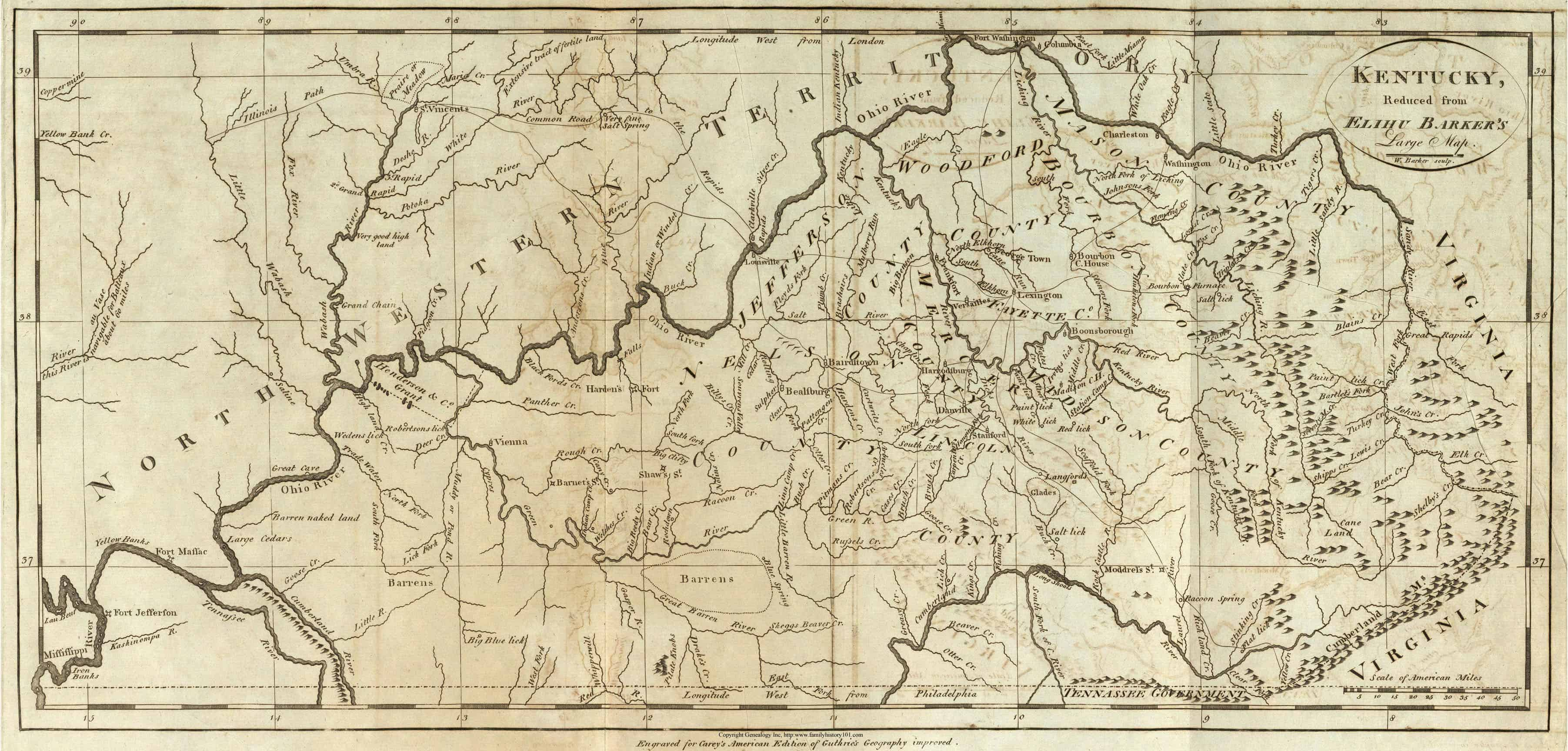1839 KY MAP LESLIE LETCHER LEWIS LINCOLN LIVINGSTON COUNTY Kentucky History HUGE