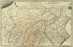 1795 State Map of Pennsylvania reduced with permission from Reading Howell's Map