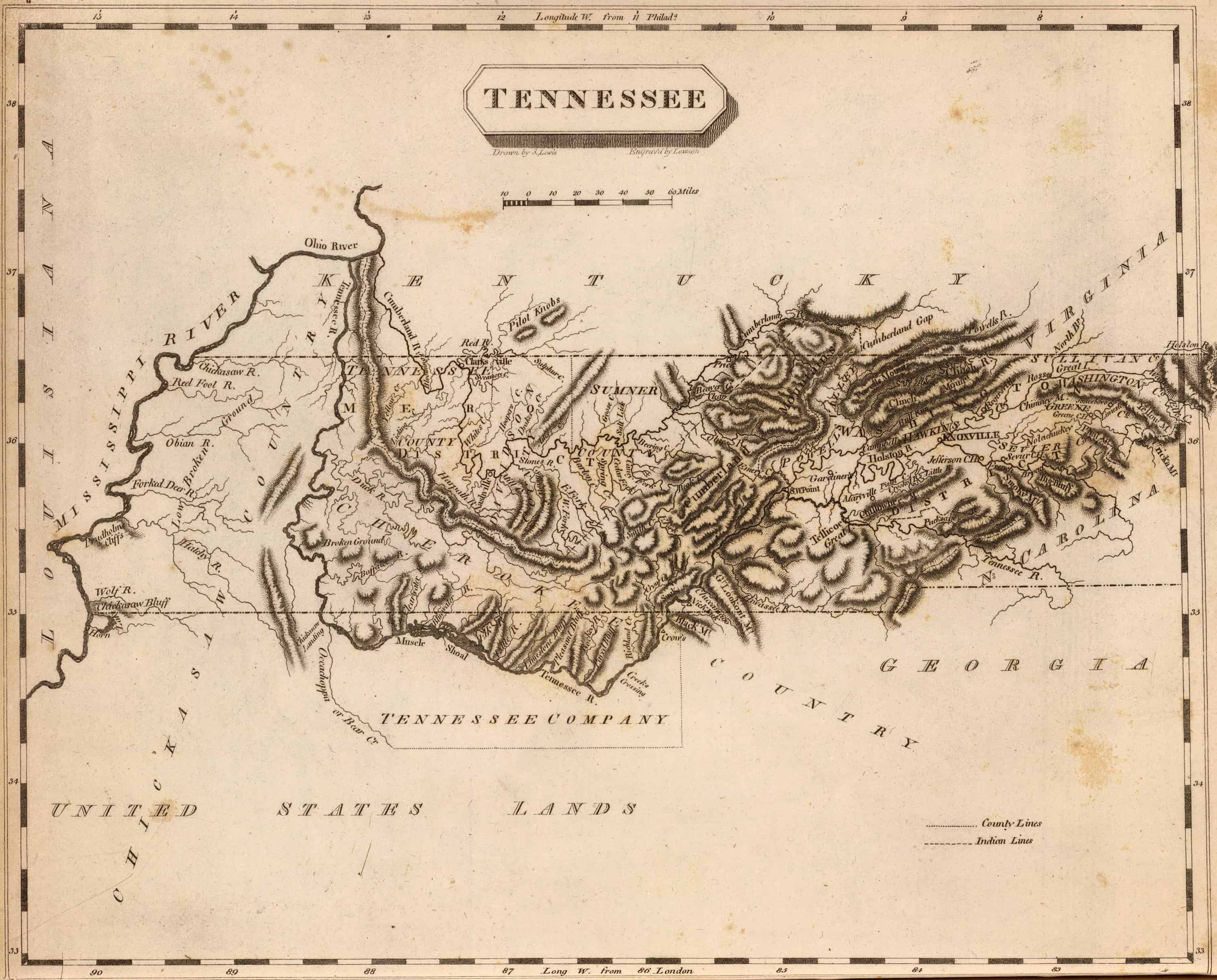 Old Historical City, County and State Maps of Tennessee