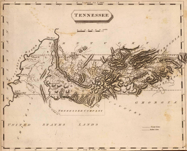 1839 TN MAP Lawrenceburg Lebanon Lenoir City Lewisburg Tennessee History HUGE