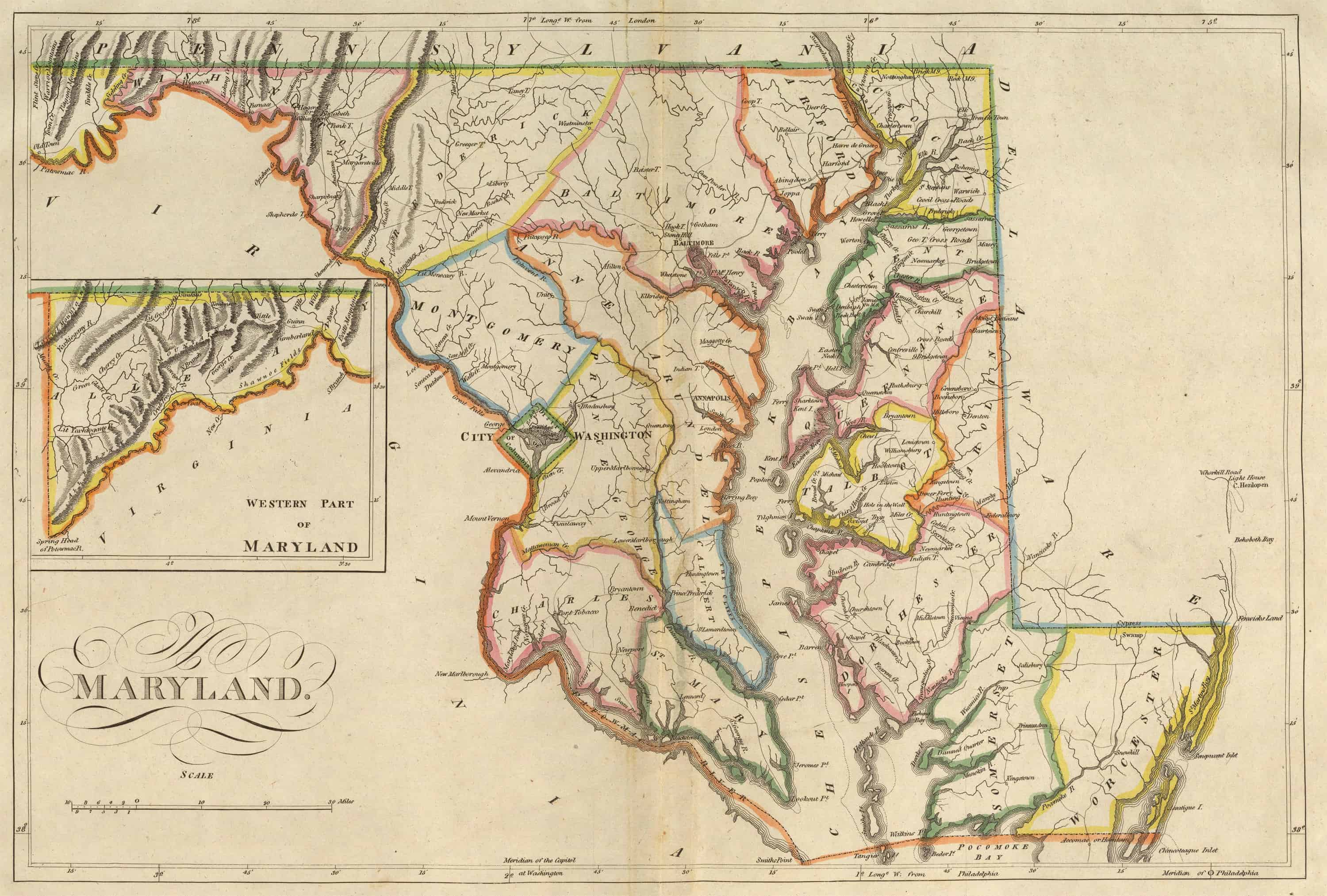 Old Historical City, County and State Maps of Maryland on map of maryland's congressional districts, map of maryland's town, map of maryland's state parks, state of maryland counties, map of maryland's rivers, map of md,