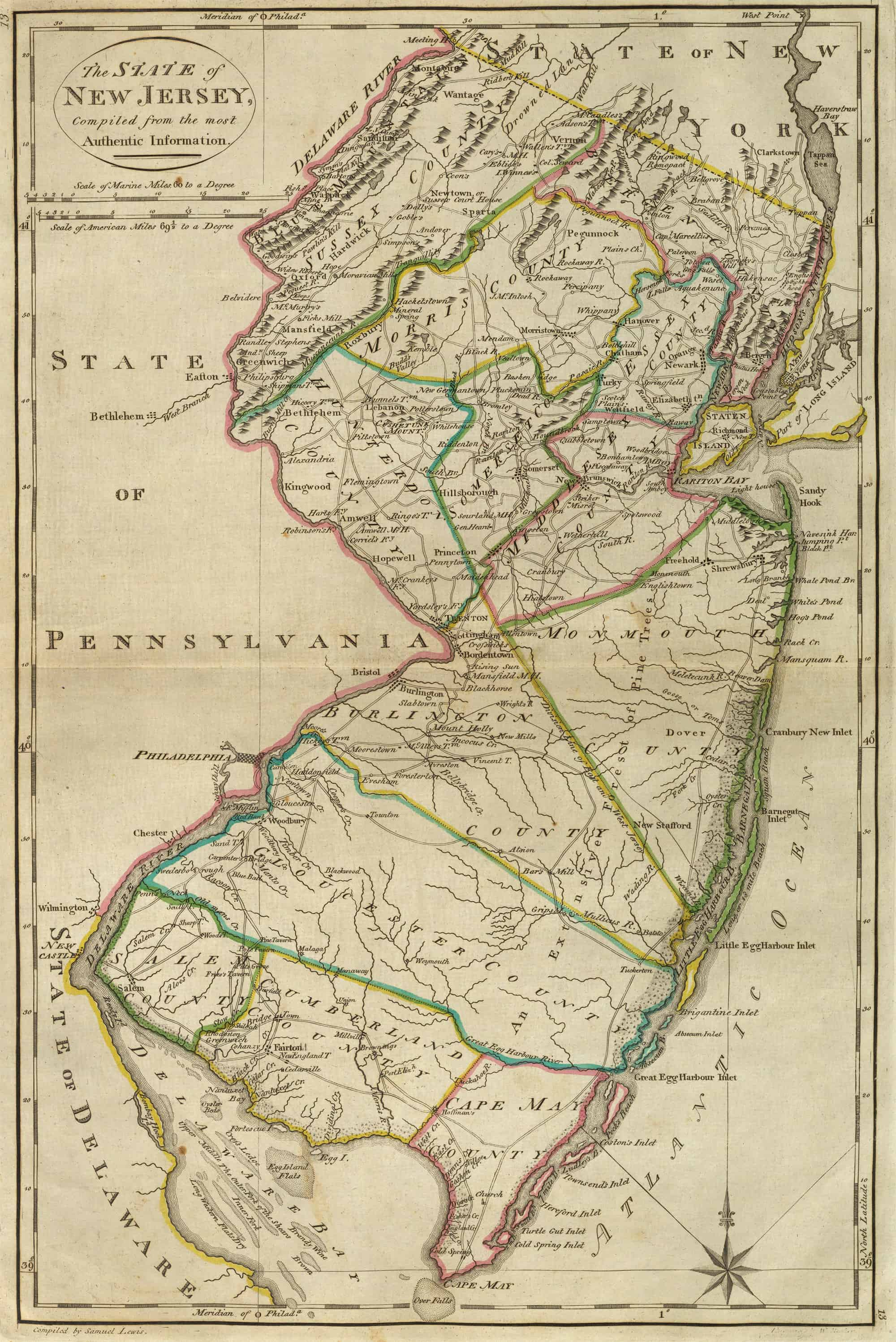 Old Historical City, County and State Maps of New Jersey