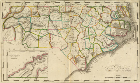 1814 Map of North Carolina with inset map Western Pa