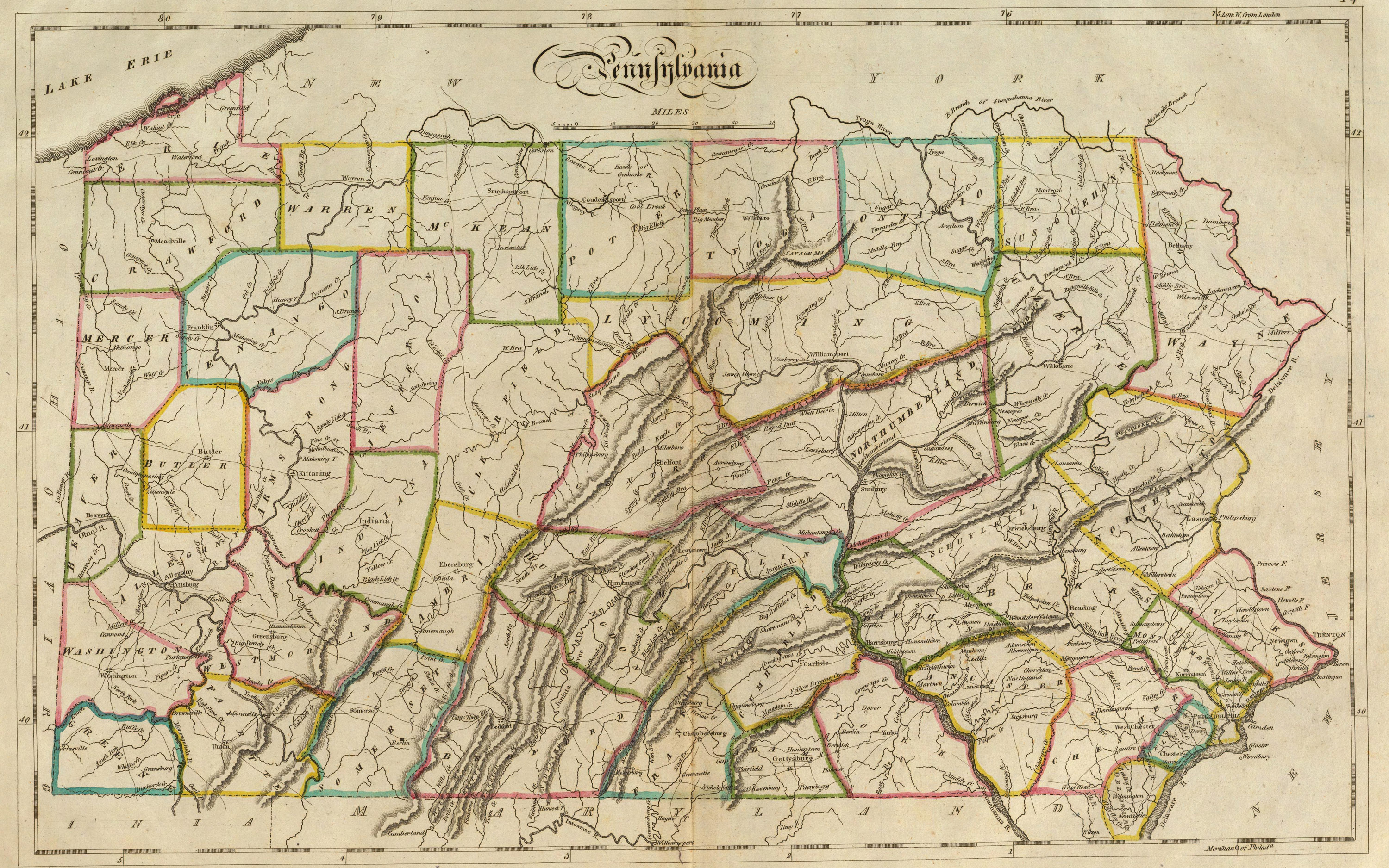 Picture of: Old Historical City County And State Maps Of Pennsylvania From 1673
