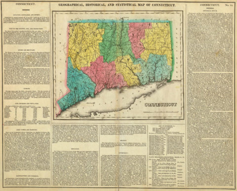 1822 Geographical, Historical and Statistical Map of Connecticut
