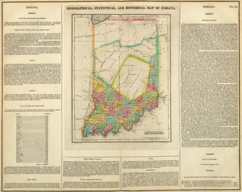 1822 Geographical, Historical and Statistical Map of Indiana