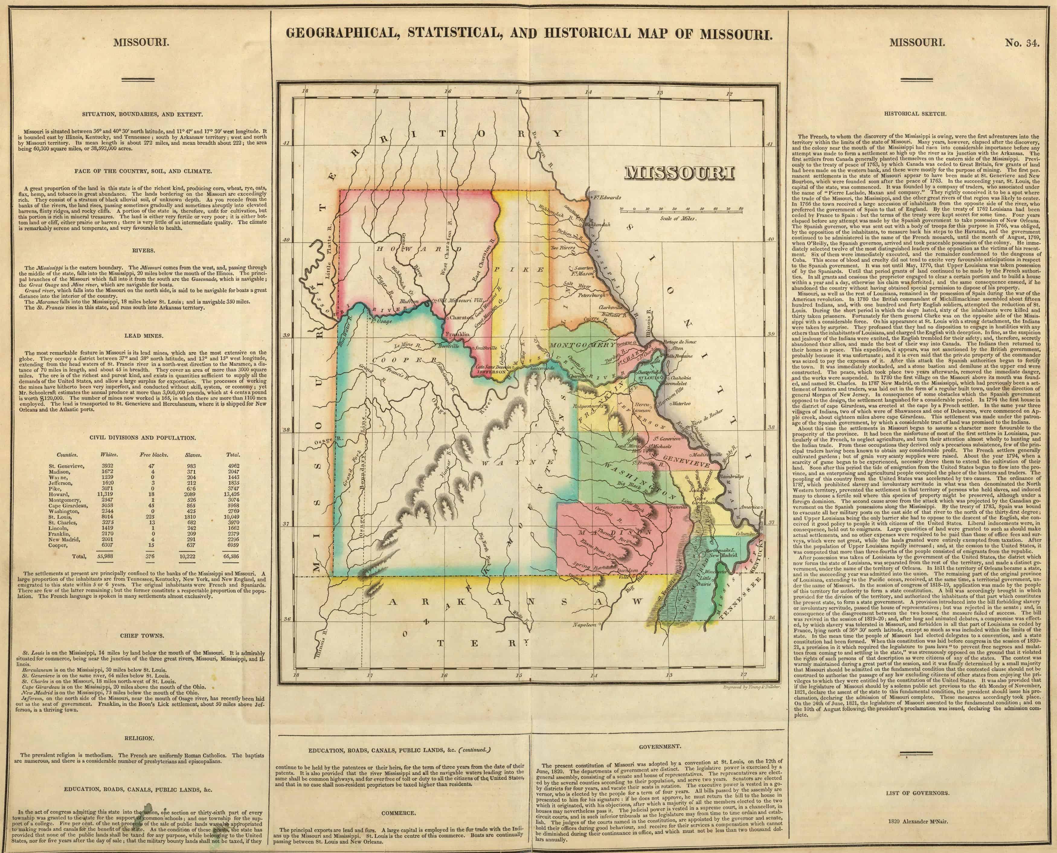1855 MISSOURI MAP MO BENTON BOLLINGER BOONE BUCHANAN BUTLER CALDWELL COUNTY big