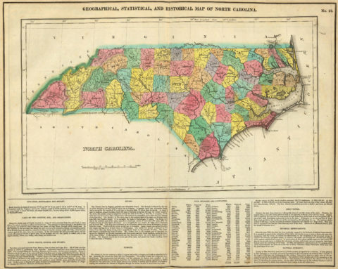 1822 Geographical, Historical and Statistical Map of North Carolina