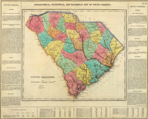 1822 Geographical, Historical and Statistical Map of South Carolina