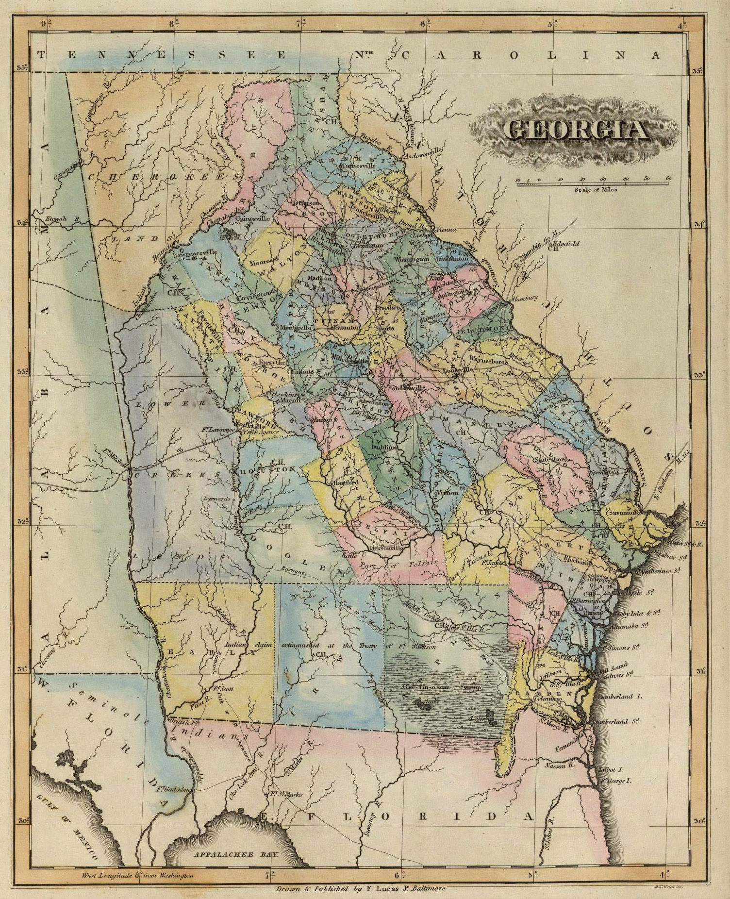 US CONFEDERATE STATES 1862 GA MAP MUSCOGEE NEWTON OCONEE OGLETHORPE COUNTY BIG