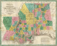 1827 State Map of Mississippi, Alabama and Louisiana