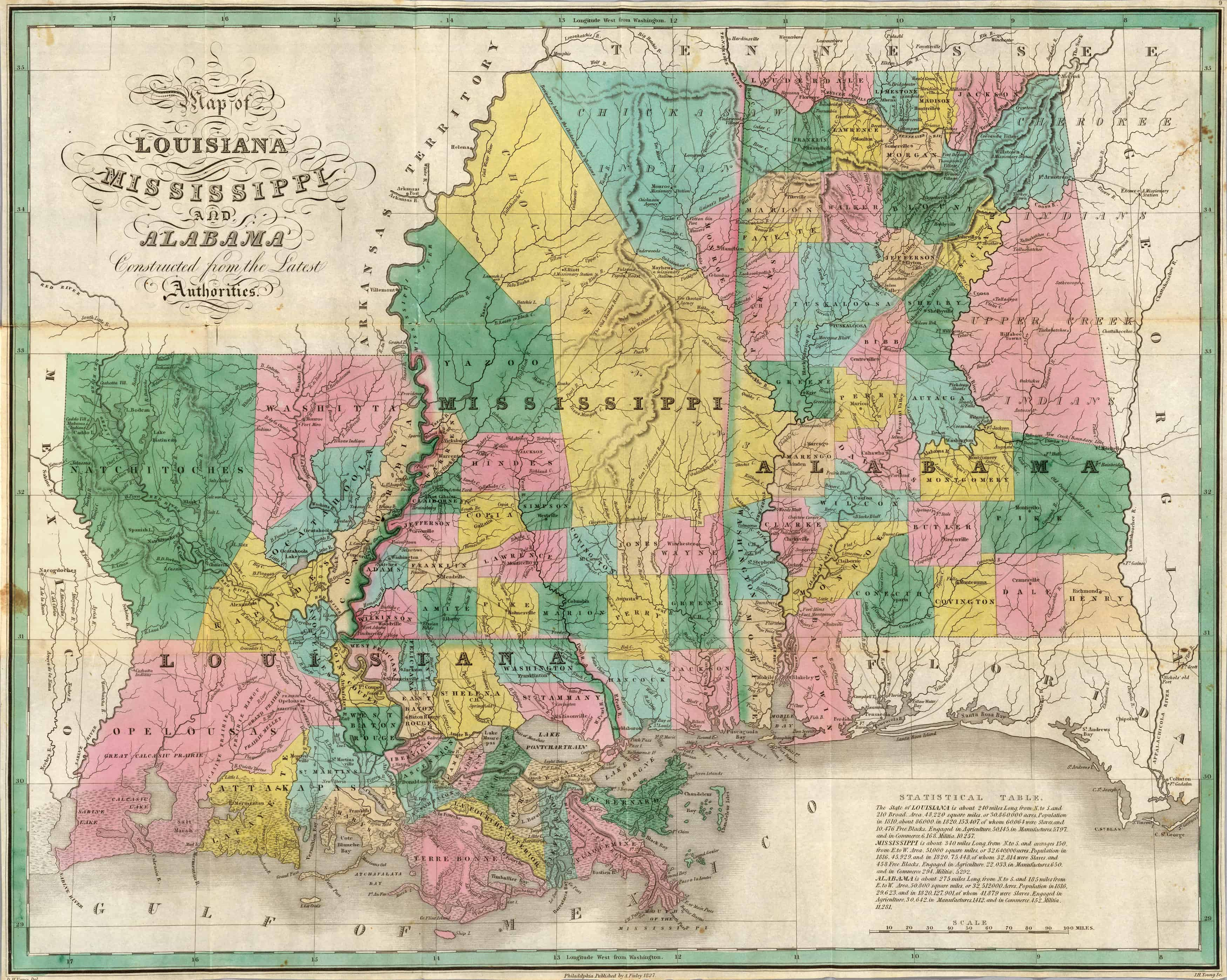Old Historical City, County and State Maps of Alabama