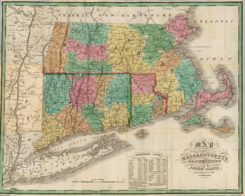 1827 Map of Connecticut, Massachusetts and Rhode Island