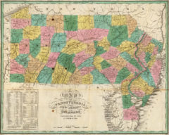 1827 State Map of Pennsylvania, Delaware and New Jersey