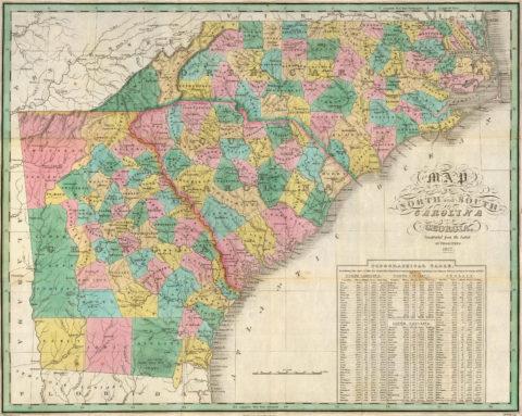 1827 Map of Georgia, North Carolina and South Carolina