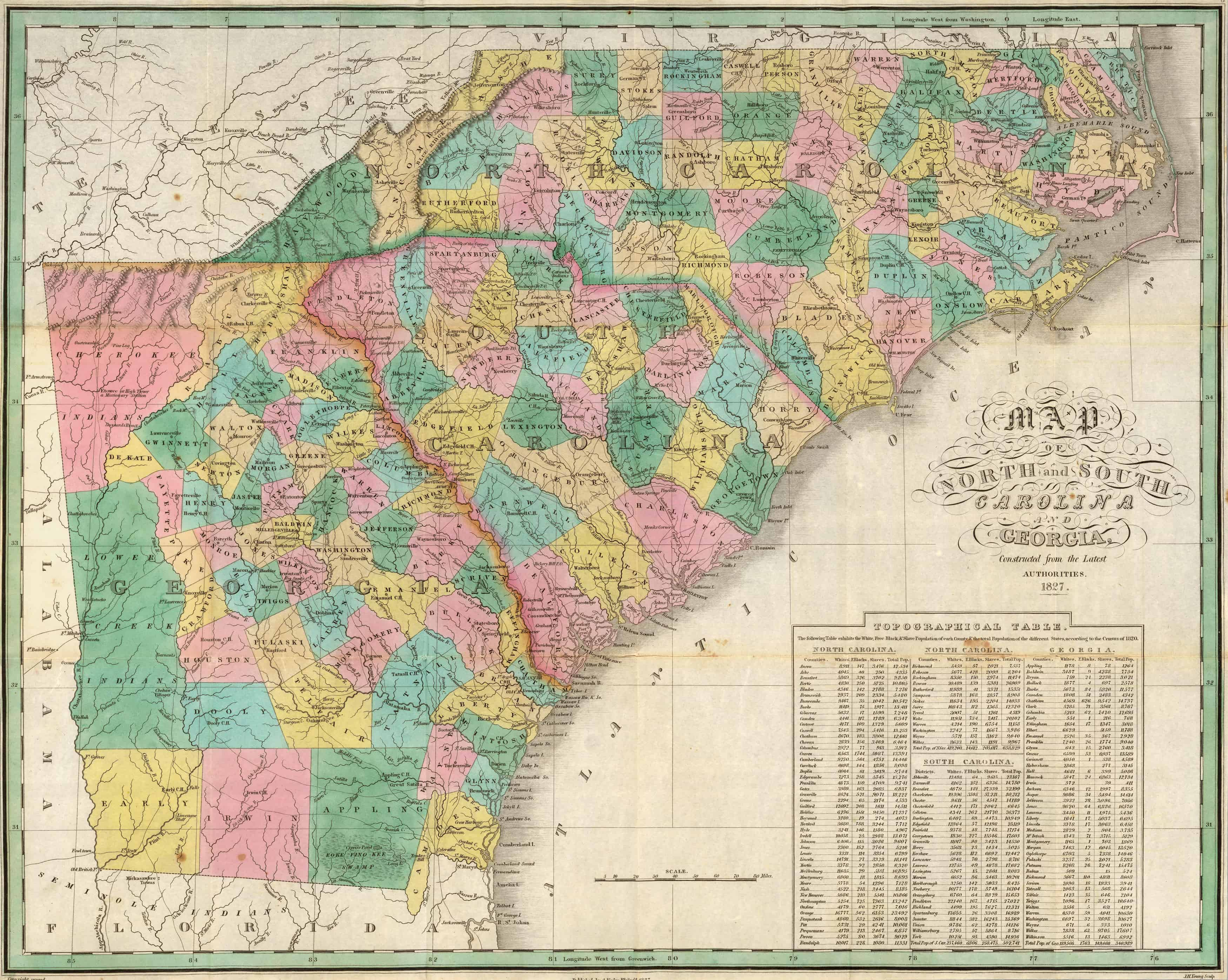 Old Historical City, County and State Maps of Georgia