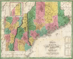 1827 State Map of New Hampshire, Maine and Vermont