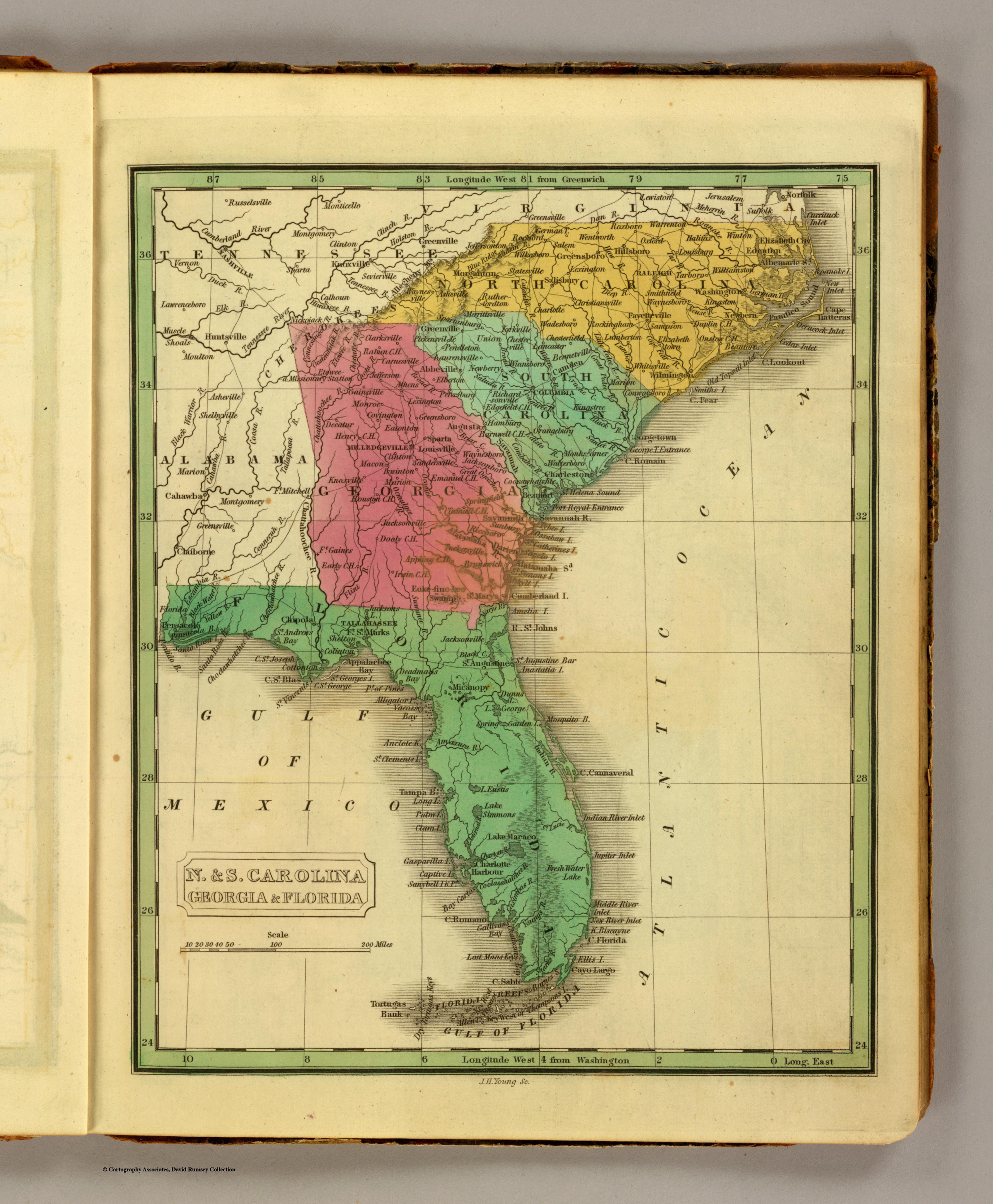 1855 GA MAP PEACH PICKENS PIERCE PIKE POLK PULASKI PUTNAM QUITMAN RABUN COUNTY