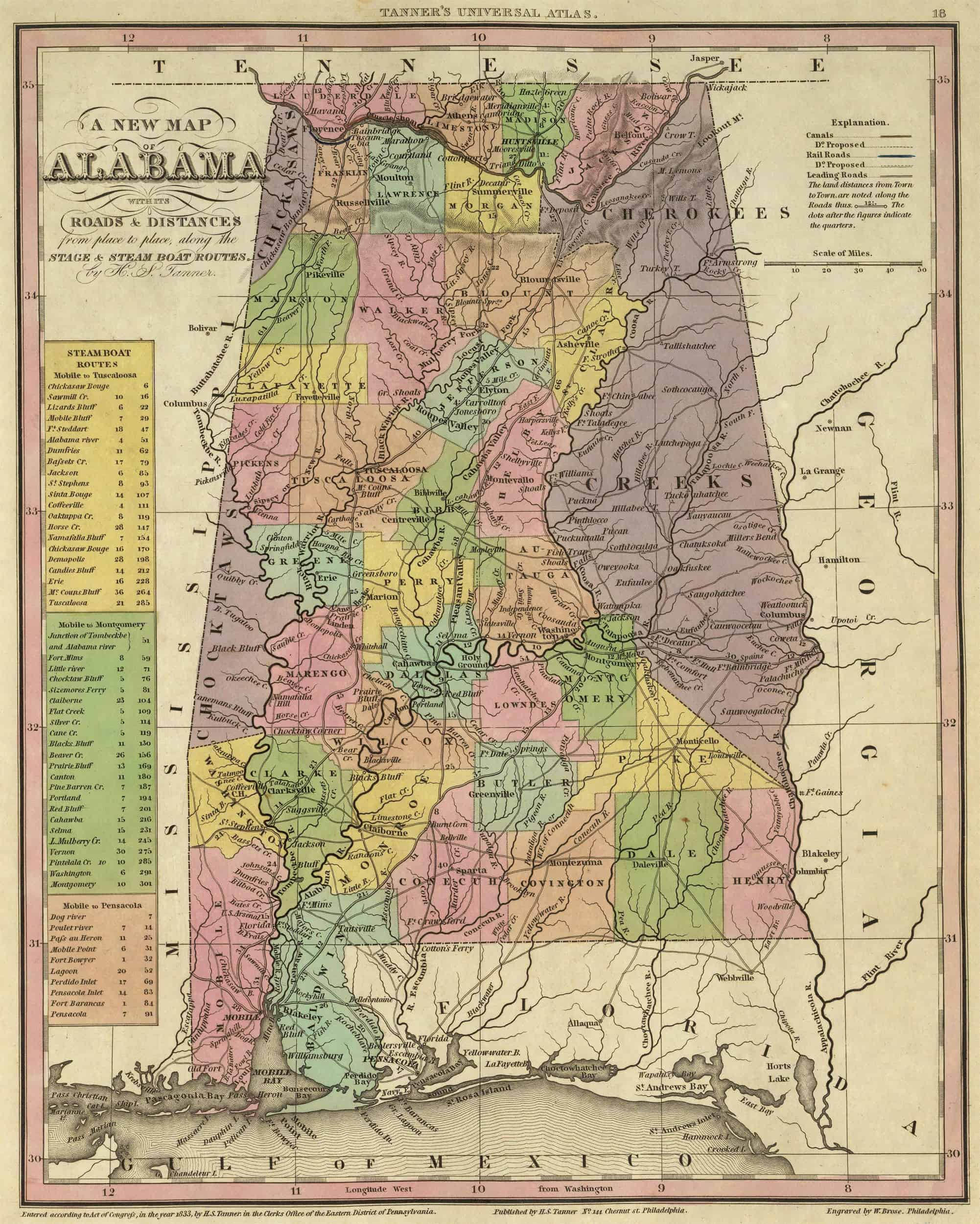 1841 AL ALABAMA Map COVINGTON CRENSHAW CULLMAN DALE DALLAS DeKALB ELMORE COUNTY