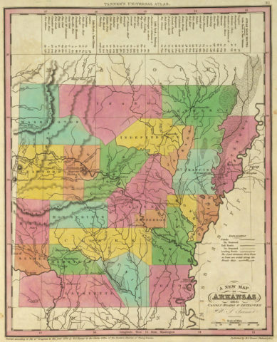 1836 State Map of Arkansas