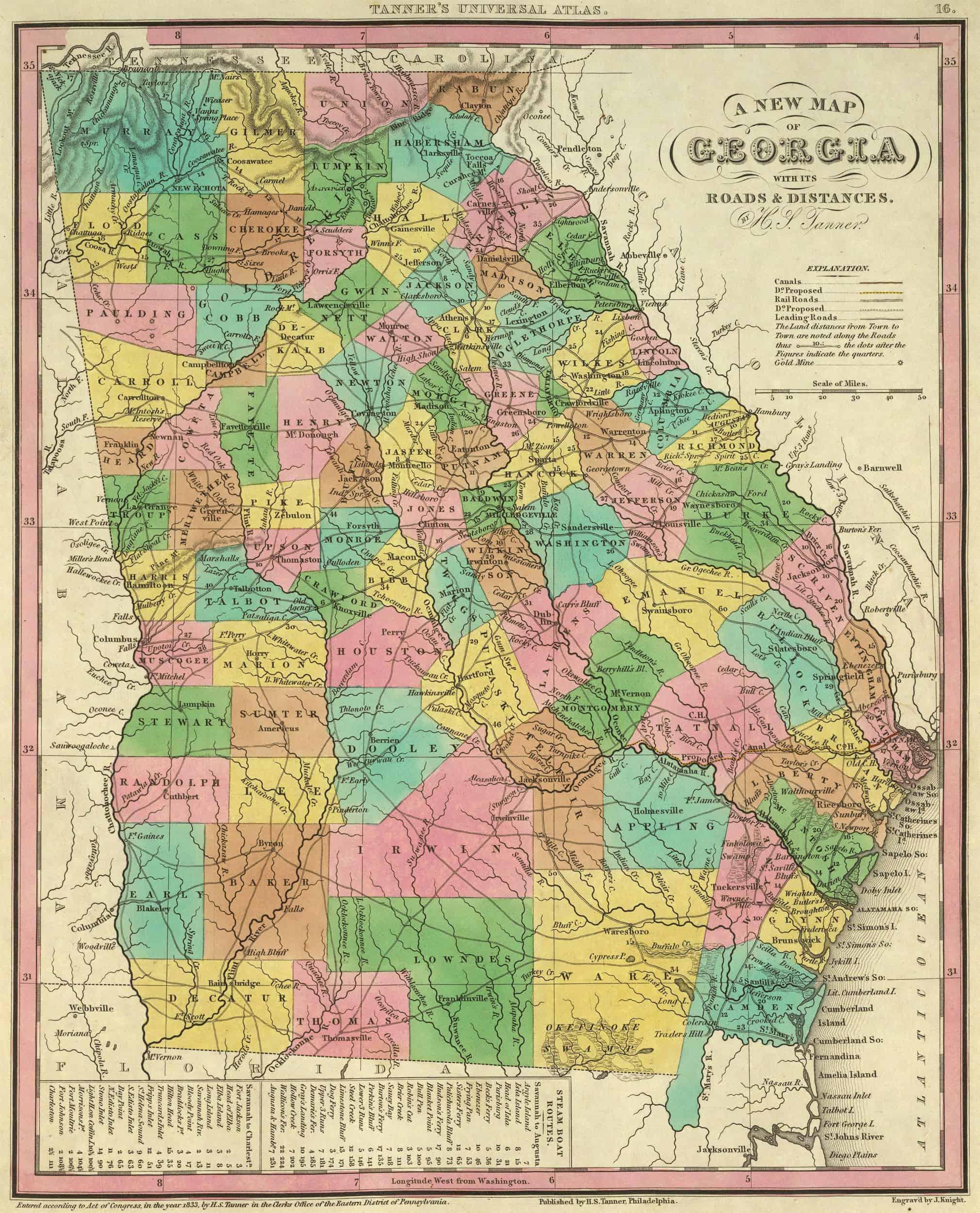 1855 GA MAP STEPHENS STEWART SUMTER TALBOT TALIAFERRO TATTNALL TAYLOR COUNTY big