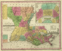 1836 State Map of Louisiana with Its Canals, Roads & Distances from place to place, along the Stage & Steam Boat Routes with New Orleans.