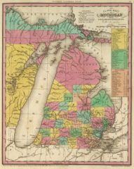 1836 State Map of Michigan with Its Canals, Roads & Distances