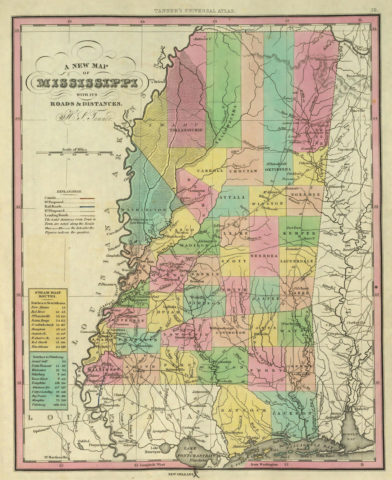 1836 State Map of Mississippi