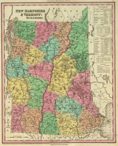 1836 State Map of New Hampshire and Vermont