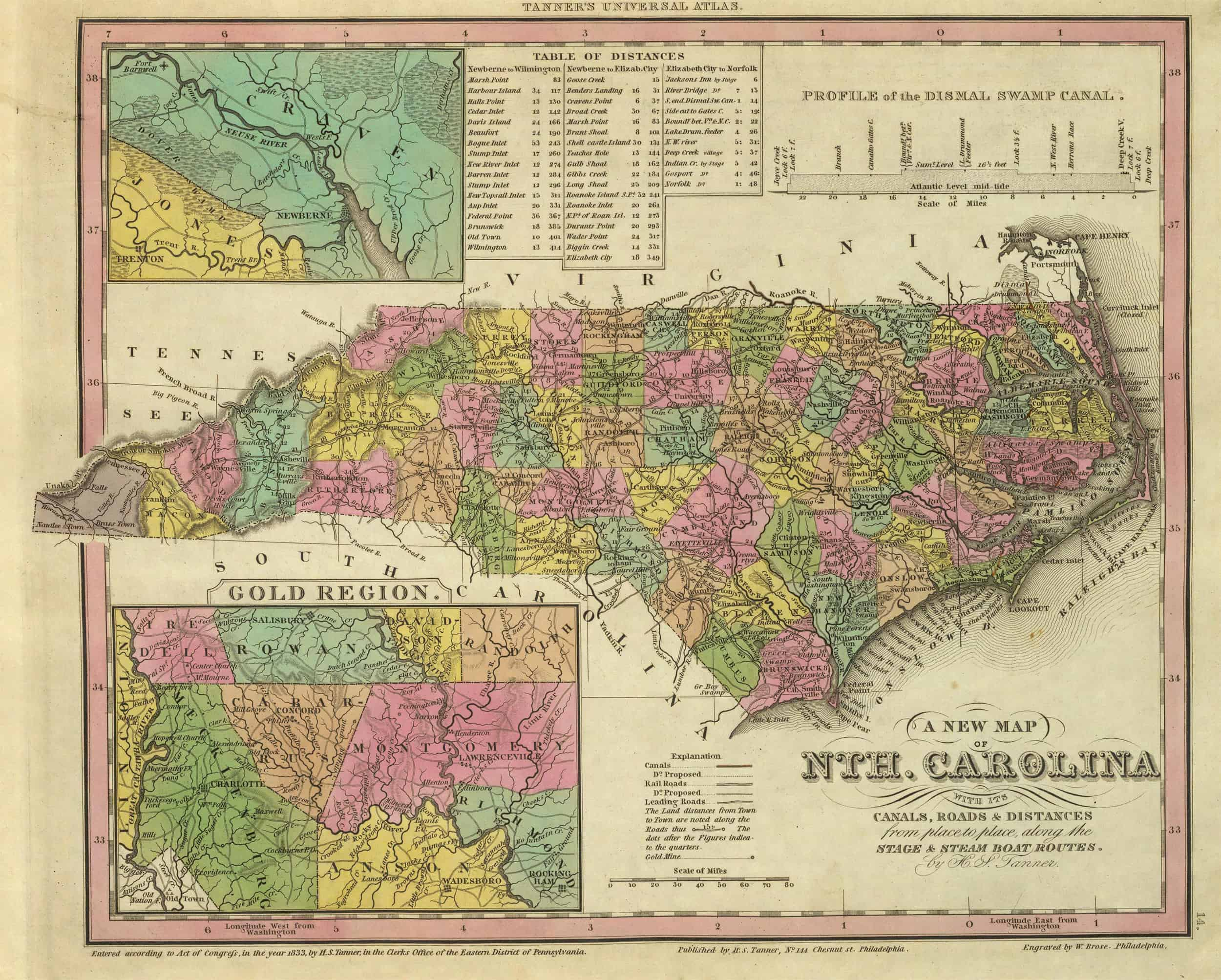 Old Historical City, County and State Maps of North Carolina
