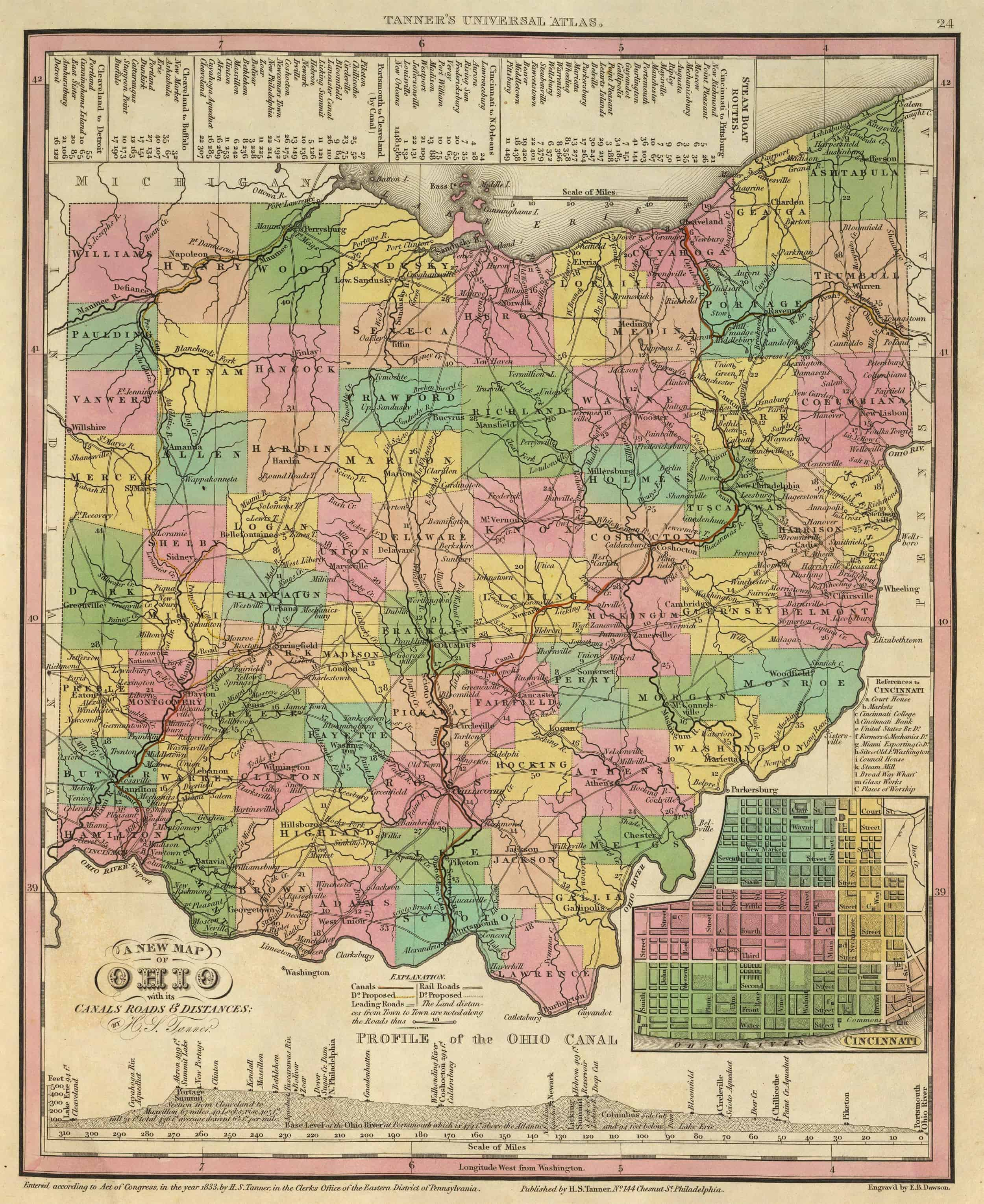 Old Historical City County And State Maps Of Ohio