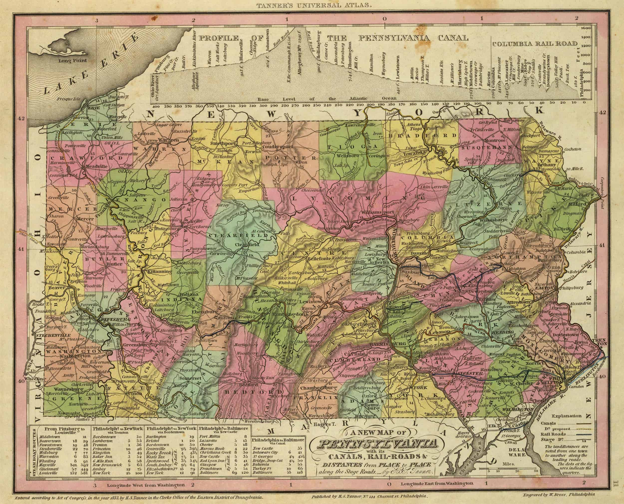 Old Historical City County And State Maps Of Pennsylvania From 1673