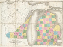 1839 State Michigan & Part Of Wisconsin Territory, Exhibiting the Post Offices, Post Roads, Canals, Rail Roads, &c