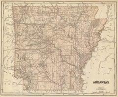 1845 State Map of Arkansas
