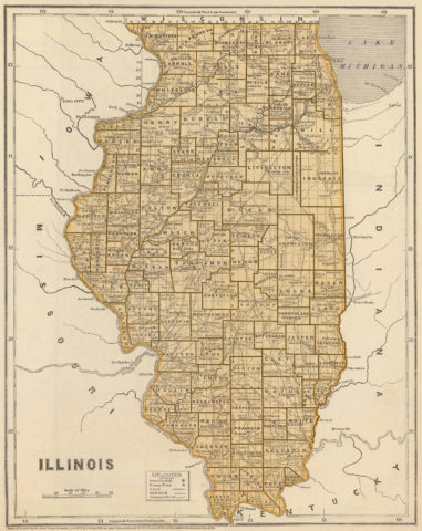 1845 State Map of Illinois