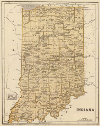 1845 Map of Indiana