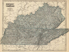 1845 State Map of Tennessee and Kentucky