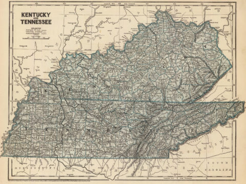 1845 Map of Kentucky and Tennessee