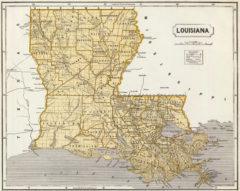 1845 State Map of Louisiana