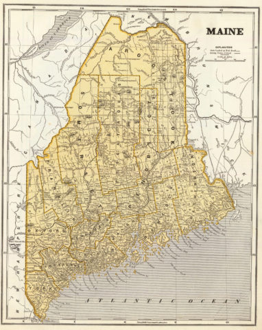 1845 Map of Maine