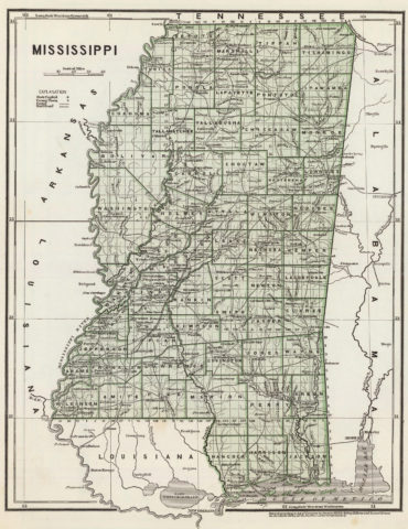 1845 State Map of Mississippi