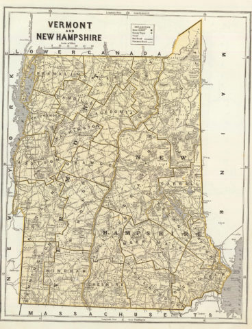 1845 State Map of New Hampshire and Vermont