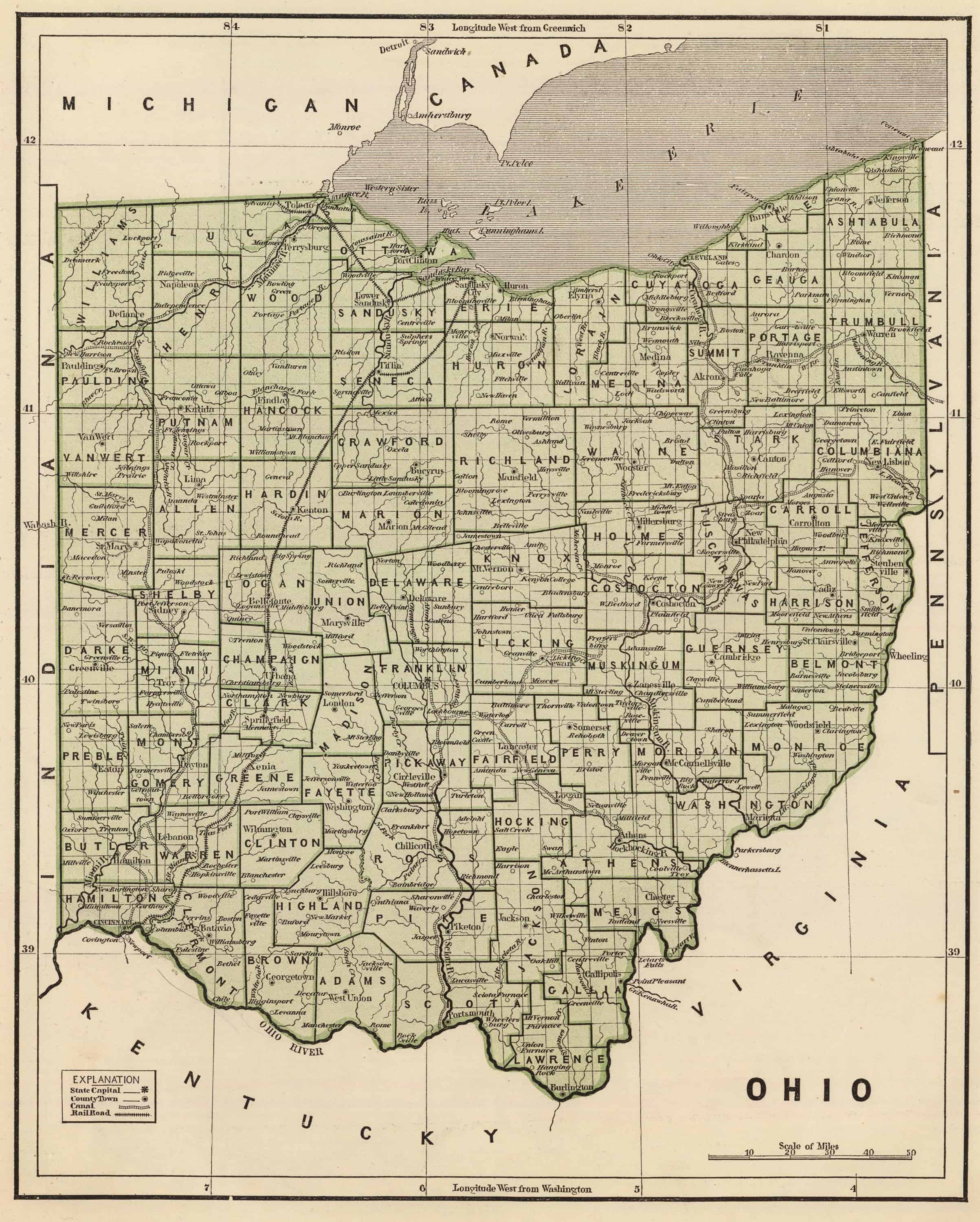 OHIO 1819 OH MAP WARREN HIGHLAND PIKE ROSS MEIGS COUNTY HISTORY ........huge