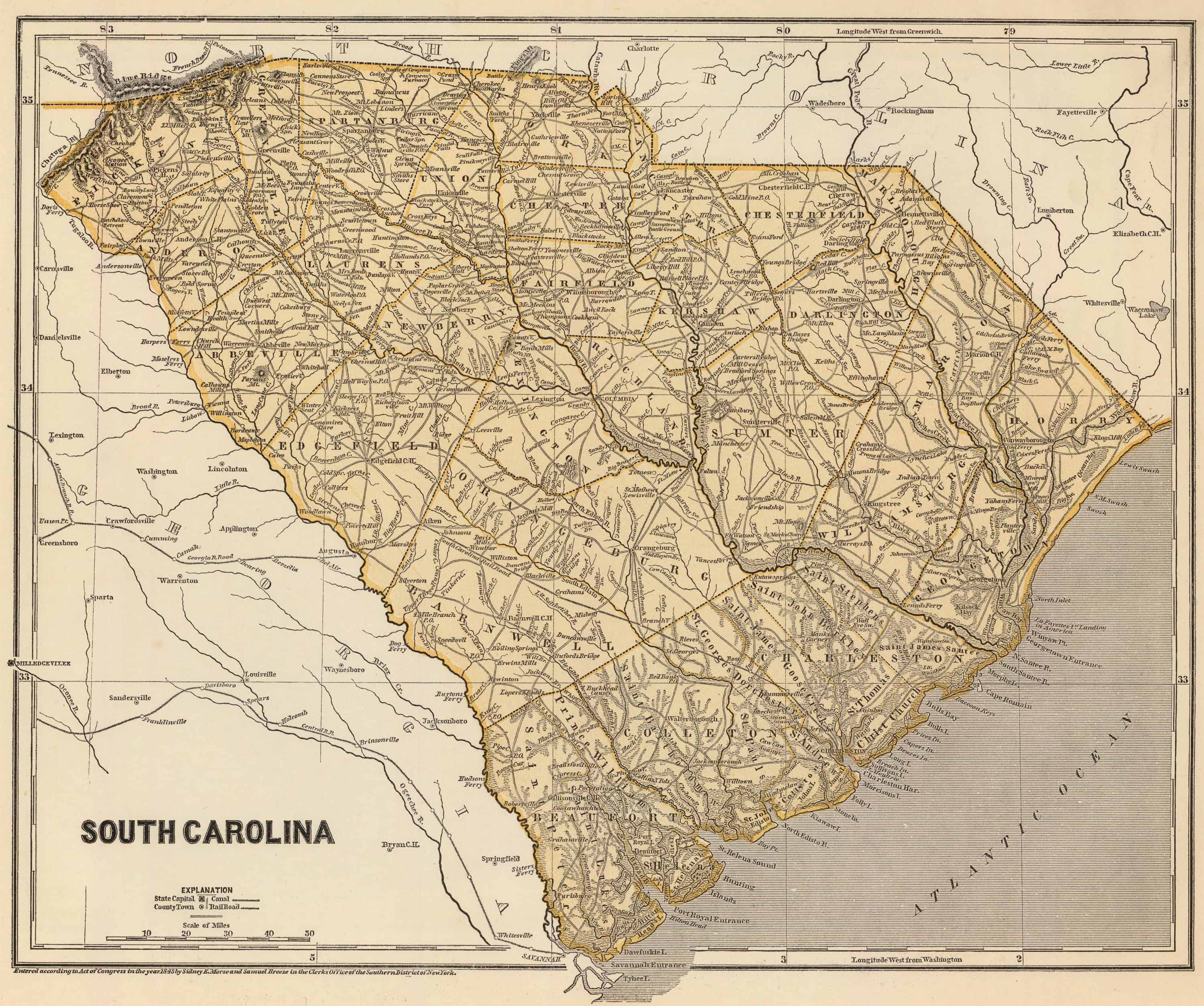 Old Historical City, County and State Maps of South Carolina on map of oglethorpe, map of al counties, map of oregon counties, map of brantley, map of nc counties, map of hall, map of missouri counties, map of kentucky counties, map of southern nj counties, map of habersham, map ar counties, map of co counties, map of cook, map of johnson, map of thomas, map of tl counties, map of alabama counties, map of colquitt, south carolina counties, map of nm counties,