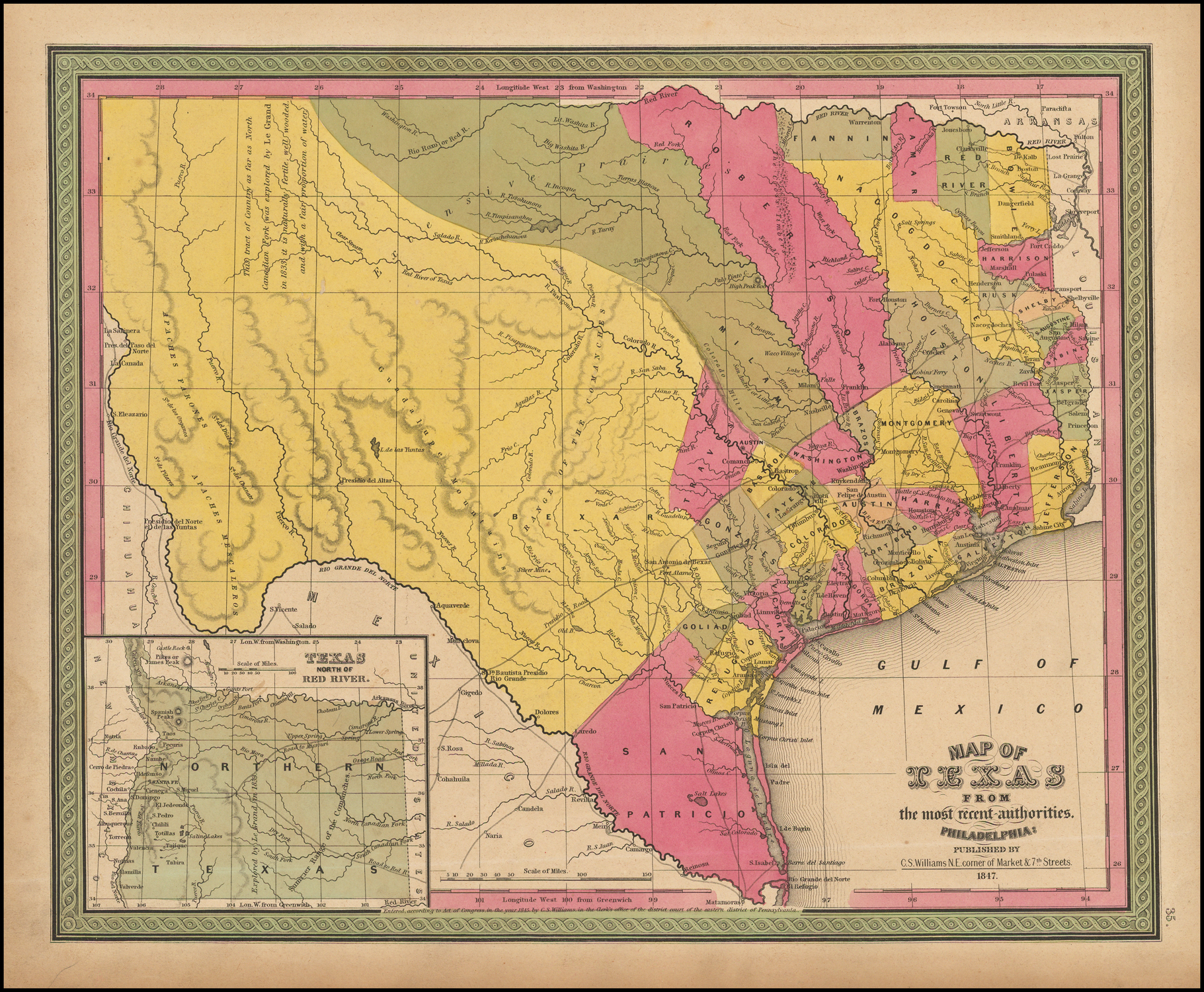 "14/"" x 24/"" 1879 Map Of Bandera County Texas United States Landowners"