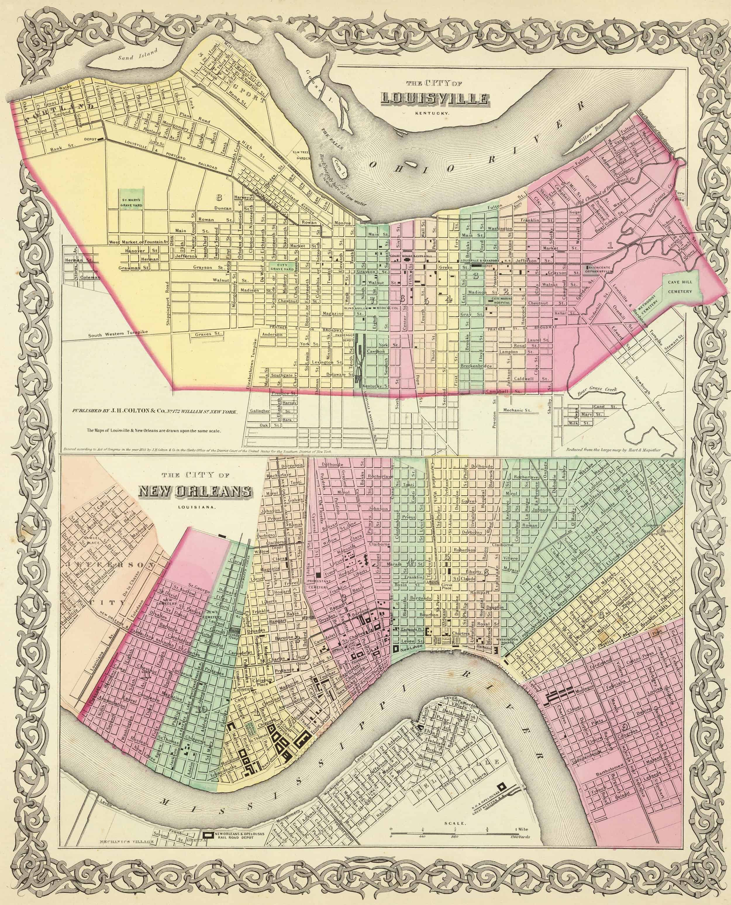 Old Historical State, County and City Maps of Kentucky
